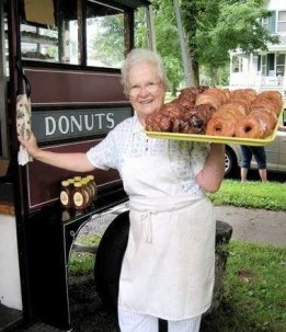 Donuts outside of the doughnut cart