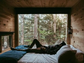 The inside of a tiny home at Getaway
