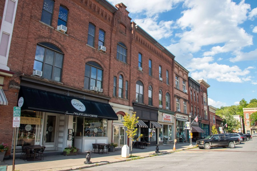 Street view of storefronts on Front Street in Ballston Spa