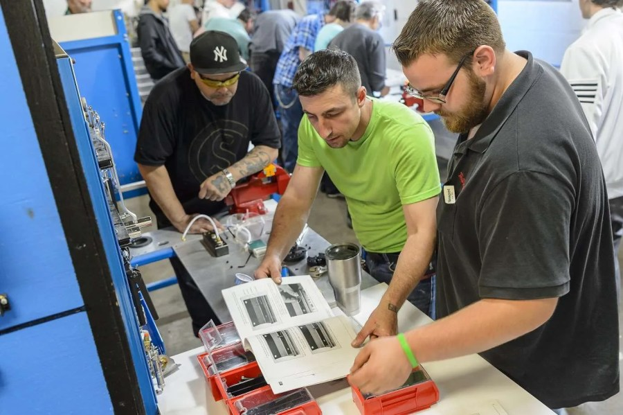 Students participate in manufacturing bootcamp.
