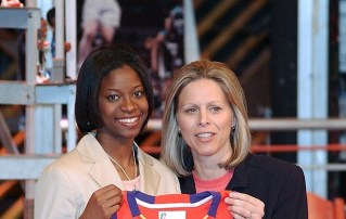 At the WNBA Draft with Commissioner Ackerman