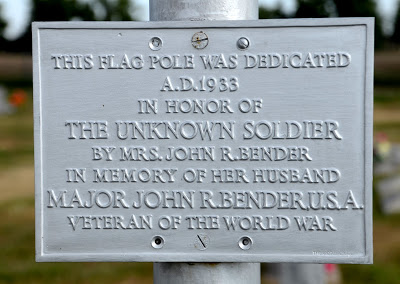 A flag pole at the cemetery where Bender is buried - donated by his wife Pearl
