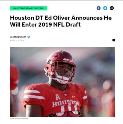 Houston DT Ed Oliver Announces He Will Enter 2019 Draft