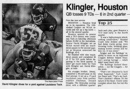 Klingler vs LaTech 1991 Modesto Bee 9-1-91