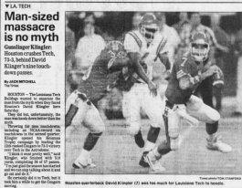 Klingler vs LaTech 1991 Shreveport Times 9-1-91