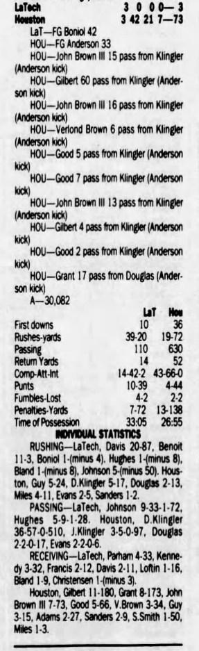 UH-LaTech box score 8-31-1991