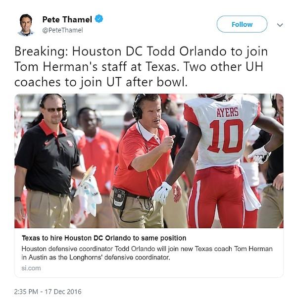 Pete Thamel tweet