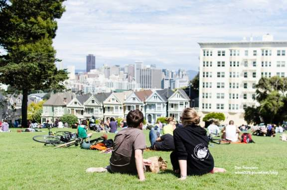 Mimosas in Alamo Square (except we forgot the mimosas)