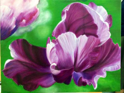 Royal Purple Tulip in Oil on Canvas - Winnie
