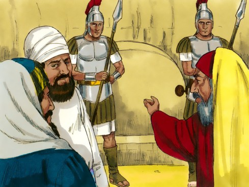 Jospeh and the women put Jesus in a tomb. Copyright: Free Bible Images