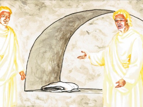 Jesus is not in the tomb. Copyright: Free Bible Images