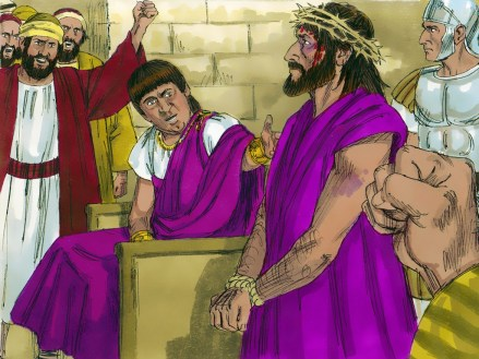 Pilate hands Jesus over to be crucified. Copyright: Free Bible Images