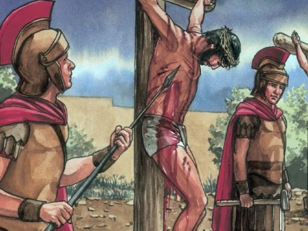 Jesus is crucified by Roman soldiers. Copyright: Free Bible Images