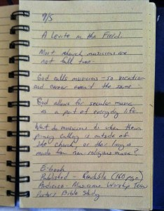 Notes from the first day of writing God and Gigs.