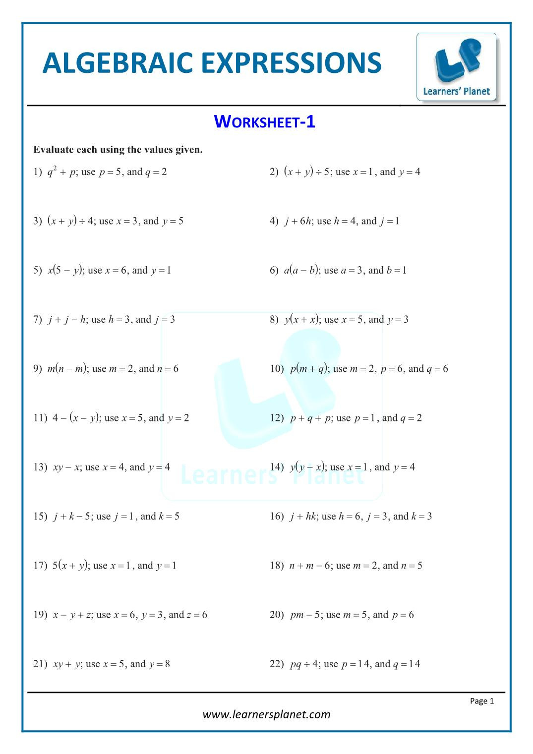 hight resolution of Writing Algebraic Expressions Worksheet 5th Grade   Printable Worksheets  and Activities for Teachers