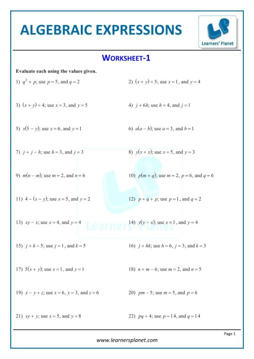 small resolution of Writing Algebraic Expressions Worksheet 5th Grade   Printable Worksheets  and Activities for Teachers