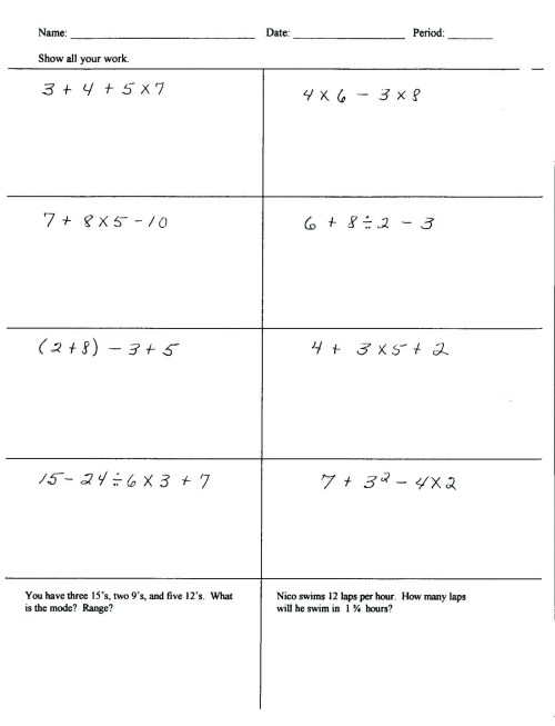 small resolution of Bodmas Worksheets With Brackets   Printable Worksheets and Activities for  Teachers