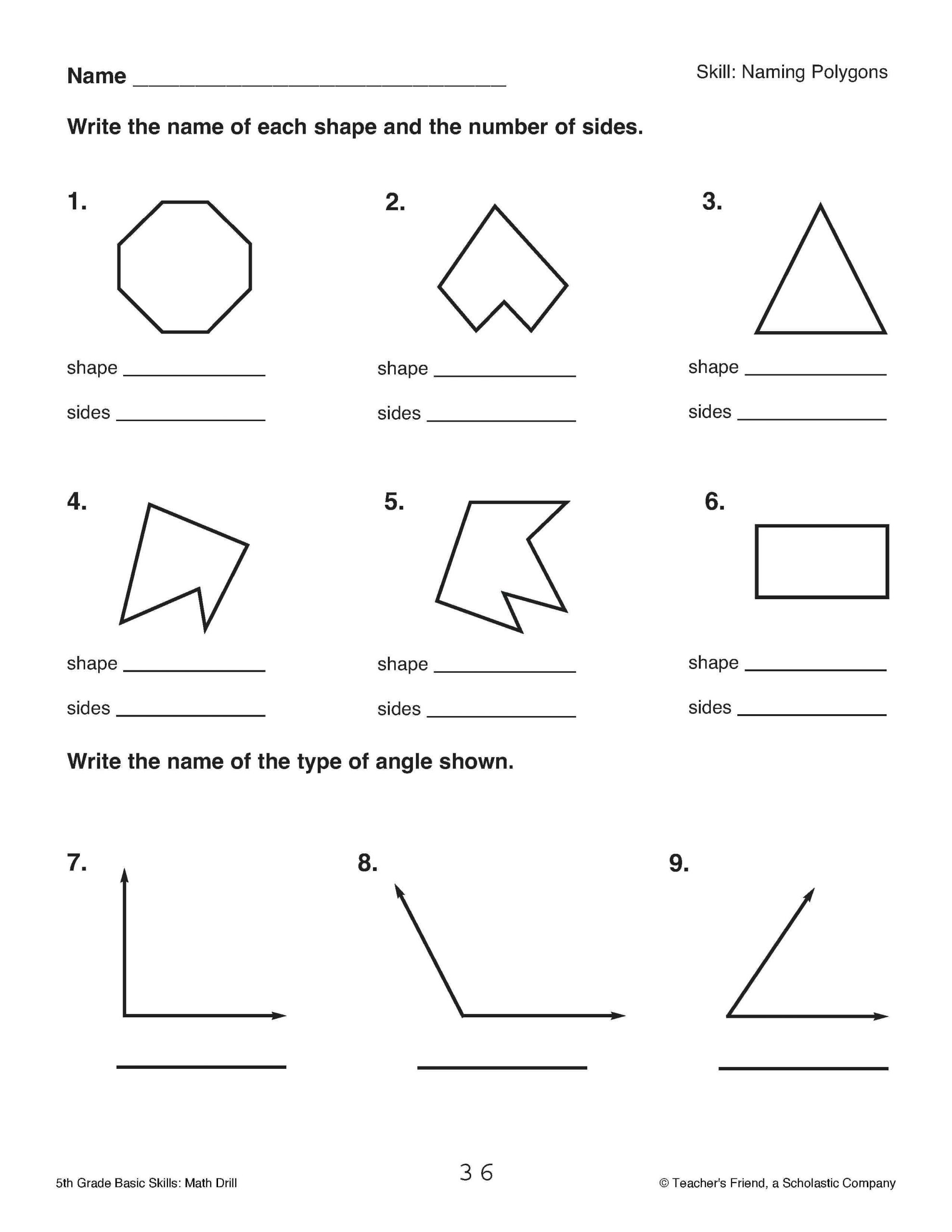 hight resolution of Polygon Worksheet 5th Grade Review   Printable Worksheets and Activities  for Teachers