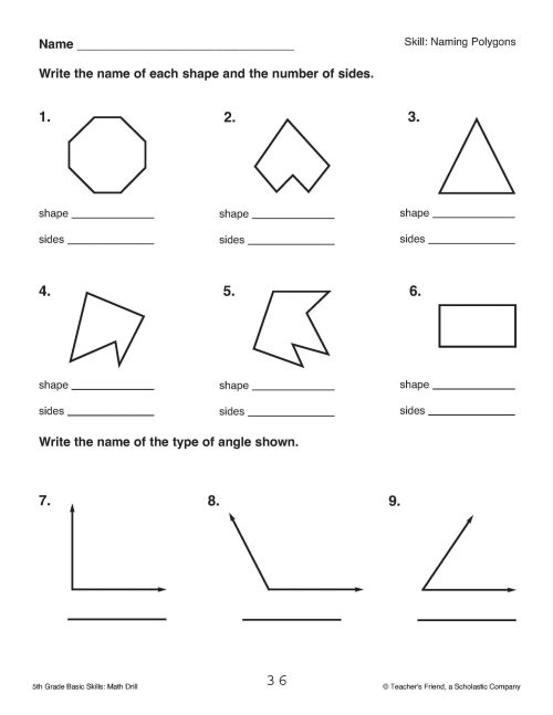 small resolution of Polygon Worksheet 5th Grade Review   Printable Worksheets and Activities  for Teachers