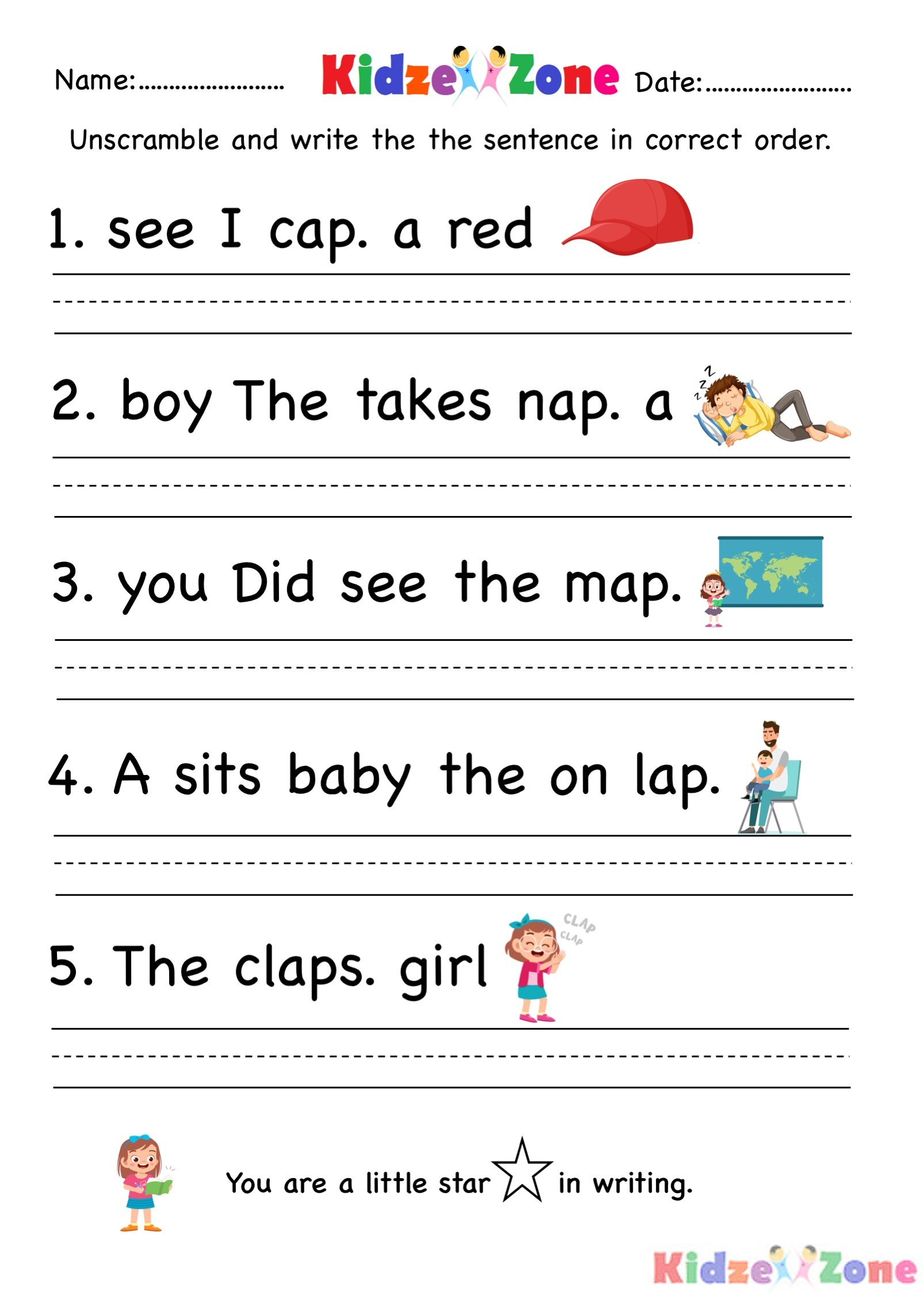 hight resolution of Sentence Correction Worksheet For 1st   Printable Worksheets and Activities  for Teachers