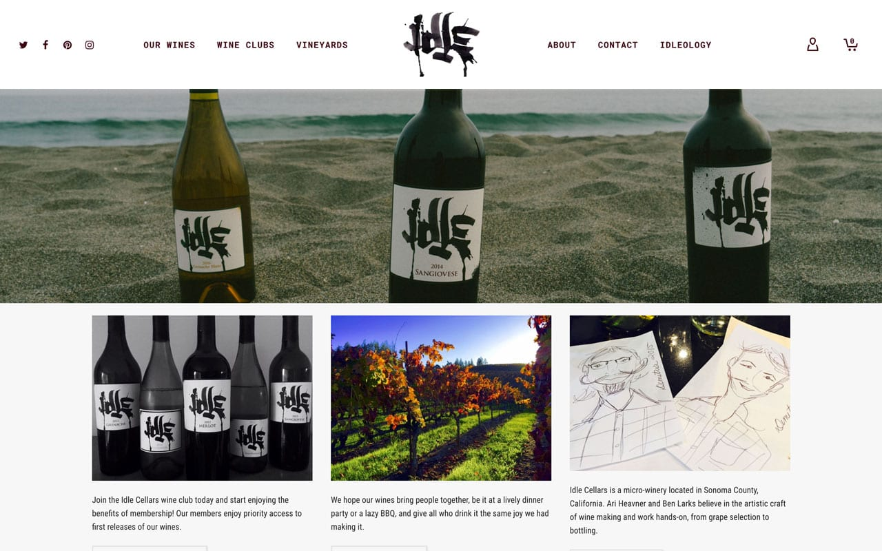Idle Cellars website