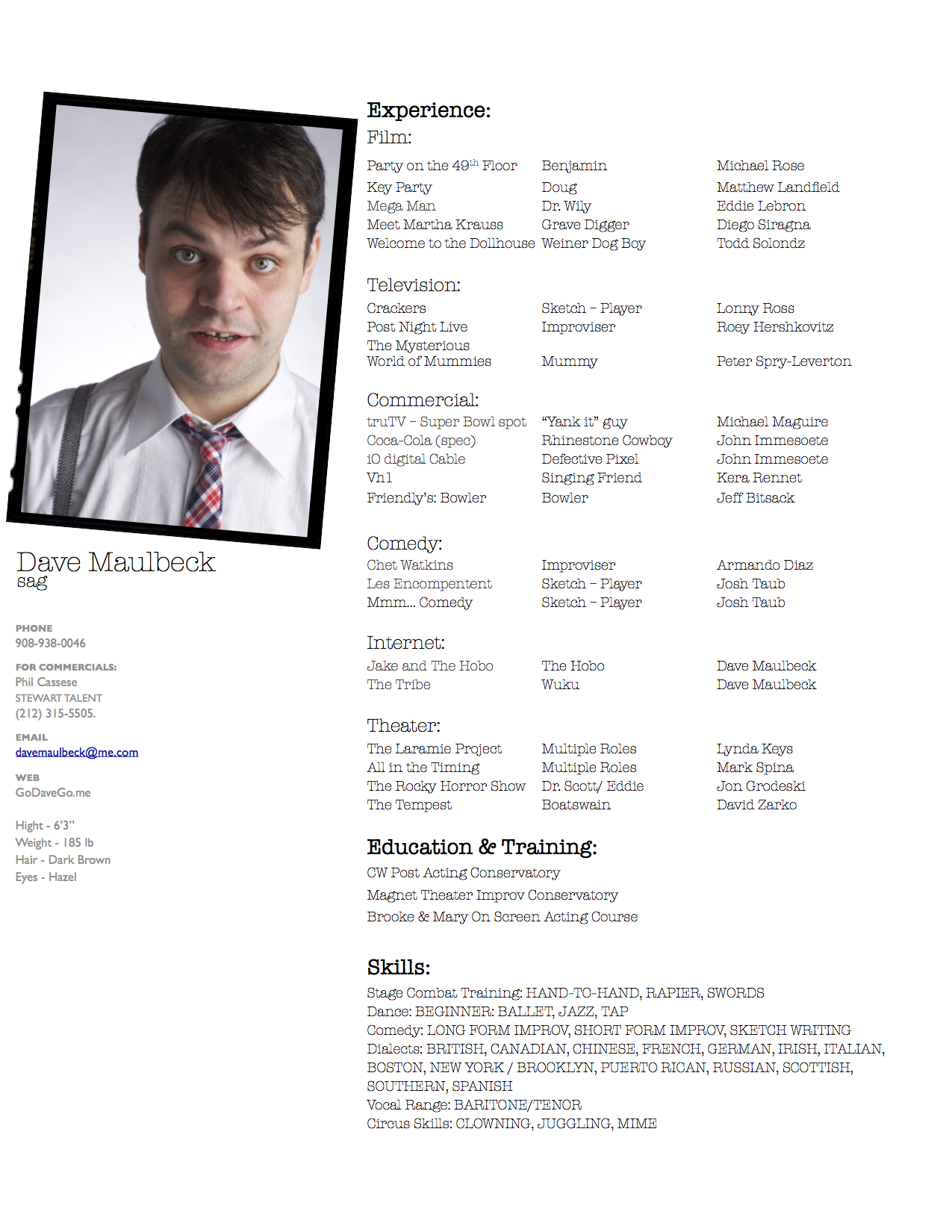 Acting Resume GO DAVE GO!