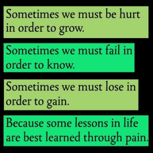 hurt fail lose; grow know gain; lessons & pain