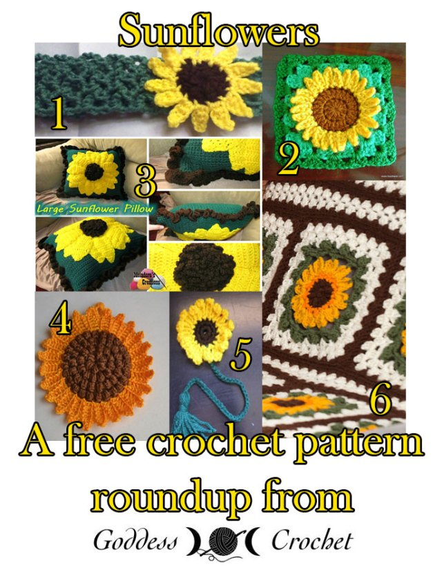 free crochet sunflower patterns
