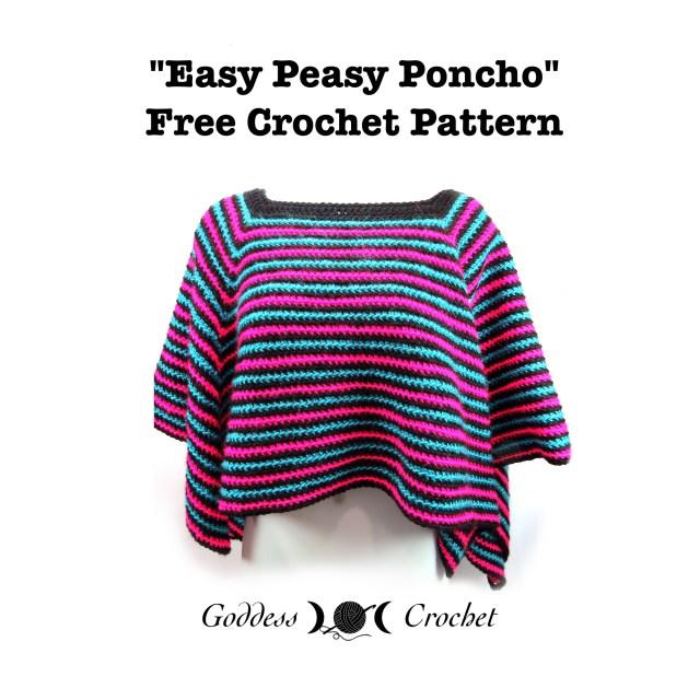 free poncho crochet pattern, easy poncho crochet pattern