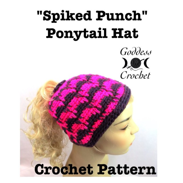 ponytail hat crochet pattern, crochet pattern, winter hat