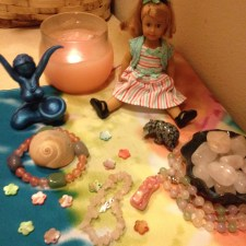Mini Maiden altar for sacred bathing ritual.