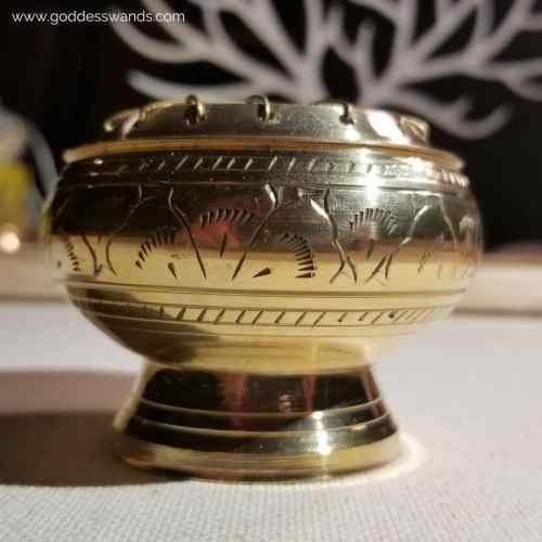 incense burner, brass burner, incense, censer, resin incense, frankincense, goddess wands, yoni wands, sacred space, smoke cleansing