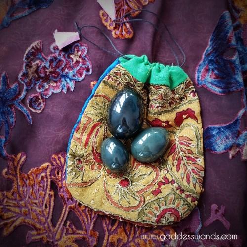 nephrite jade trio on pouch