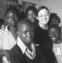Anna with kids
