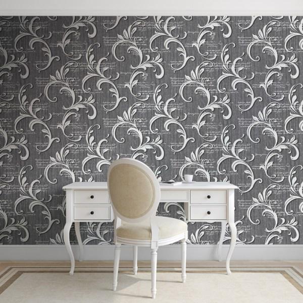 Muriva Alessandra Scroll Wallpaper - Black