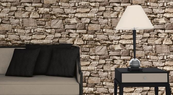 3d Touch Wallpaper House Decor Muriva Dry Stone Wall 3d Effect Wallpaper Sand