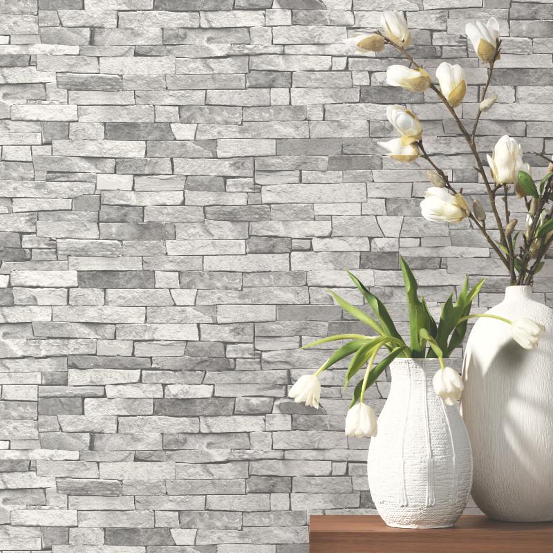 PampS International Slate Wallpaper Light Grey