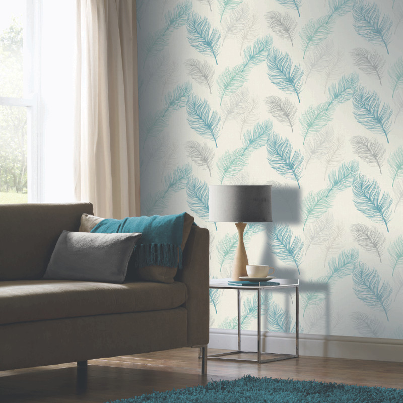 Arthouse Whisper Feather Wallpaper Teal