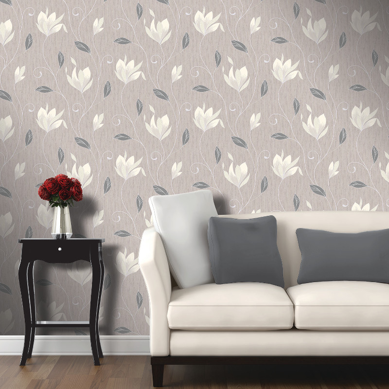 Vymura Synergy Glitter Floral Wallpaper Taupe And Silver