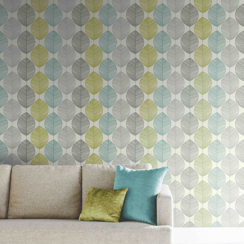 green kitchen decor glass tiles arthouse retro leaf wallpaper - teal and go ...