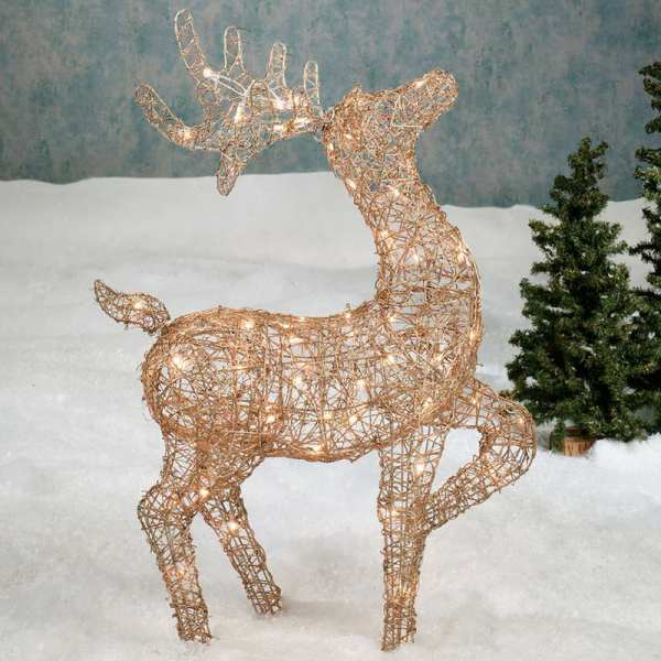christmas lighted reindeer yard decorations