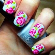 beautiful floral nail art