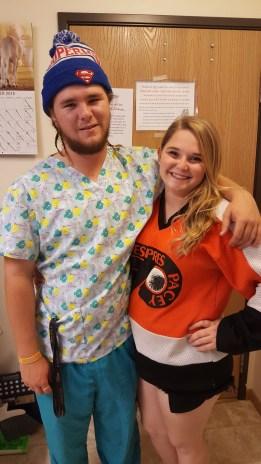 Halloween 2016! Braden the Nurse and I the hockey player!