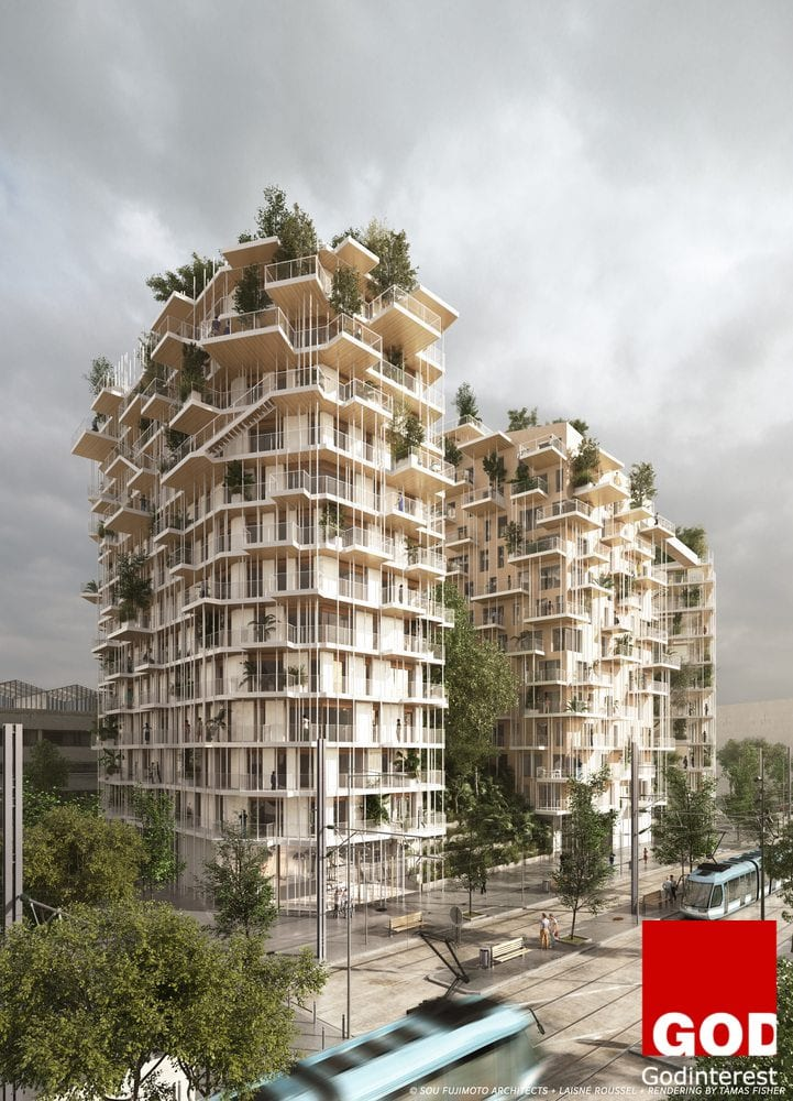 Sou Fujimoto and Laisn Roussel's proposal for a tall wooden building in Bordeaux. Image  © SOU FUJIMOTO ARCHITECTS + LAISNÉ ROUSSEL + RENDERING BY TÀMAS FISHER AND MORPH