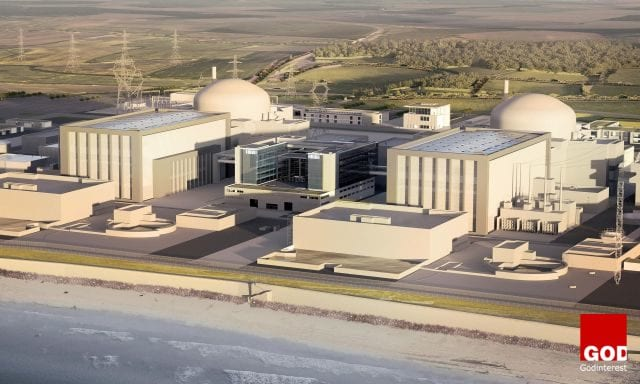 A render of the proposed Hinkley Point C nuclear power station.
