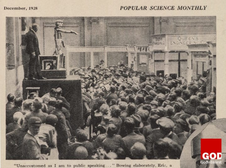 Popular Science Monthly (December 1928) showing Eric the talking robot opening the Model Engineering Exhibition in London (courtesy Science Museum SSPL)
