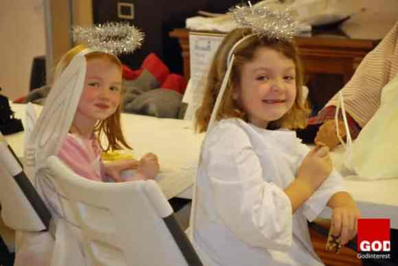 Charlotte and Clara as they wait for their big moment as angels in our Christmas Eve service. A couple of cuties no doubt