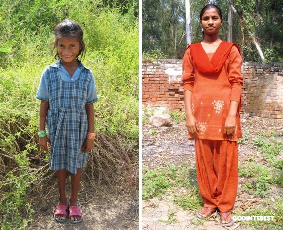 Daya, pictured at age 8 and age 15. Once among beggars in the street, she is now a thriving teen finding her place in this world and walking in her faith.