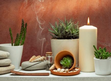 Wierrook planten en kaarsen