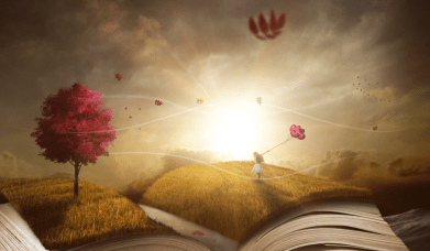 An illustration of an imaginary landscape on an open book, with grass on it's open pages, a girl flying a balloon and a tree with red leaves in the sunrise
